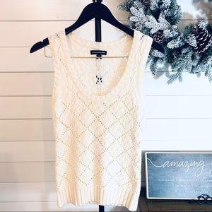 Express ivory sweater wool blend vest, size M